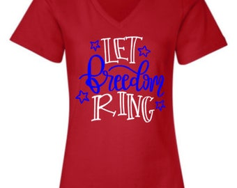 Let Freedom Ring V-Neck Relaxed T-Shirt