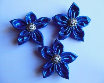 Flowers in shades of blue floral fabric