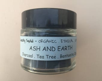ASH AND EARTH - Face Mask, Charcoal Mask, Clay Mask, Bentonite Clay, Tea Tree, Activated Charcoal, Acne Face Mask, Oily Face Mask