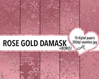 SALE Rose Gold Damask Digital Papers + BONUS Photoshop Pattern Files, Seamless, Textures, Backgrounds, Clipart, Personal & Commercial Use