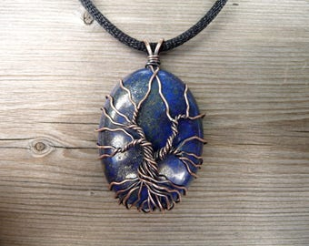 lapis lazuli pendant, tree of life jewellery, wire wrap jewelry handmade, unique necklaces, lapis stone pendents, copper jewelry wrapped