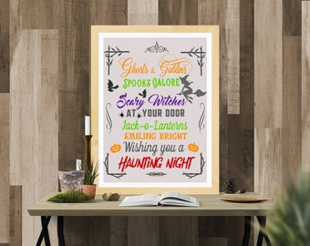 Halloween Printable / Halloween Haunting Night / Ready to Print Digital Download / Size 8x10 300 DPI / Halloween Wall Art and Printable