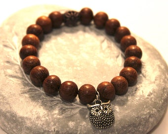 Owl Bracelet, Owl Charm Bracelet, Wooden Bead Bracelet, Wooden Bracelet, Owl Gifts, Owl Lover Gift, Boho Bracelet, Friendship Bracelet