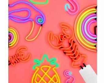 Various neon flamingo cactus pinepple rainbow tucan rainbow small table desk lamp lights Pre orders only plea