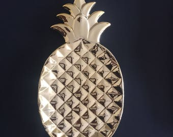Gold Pineapple ceramic plate serving tray key or jewellery holder Chic & Glamorous