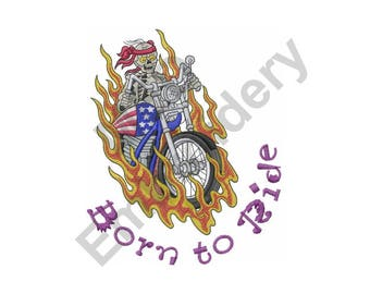 Biker - Machine Embroidery Design, Biker Skeleton