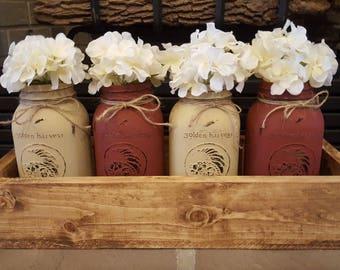 Rustic planter box. Painted mason jars. Rustic home decor. Farmhouse Decor. Rustic wedding. Mason jar box. Mason jars. Mason jar centerpiece