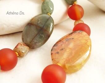 Carnelian-Jaspe-Aventurine Necklace/Yellow/Orange/green/sterling silver/summer/trendy/fashion/elegant