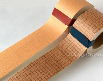 SAMPLE Kraft paper tape Classiky Kraft paper blue / red grid 45mm