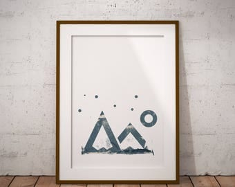 Geometric mountains art print- Instant DOWNLOAD - Wall art - Wall decor - Home decor - Art print