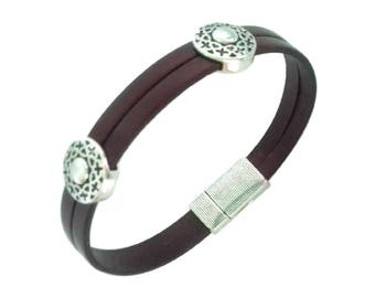 Burgundy metal width round bead, magnetic clasp leather bracelet