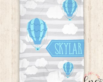 Personalized Baby Blanket - Personalized Blanket - Cloud and Hot Air Balloon Blanket - Sky Baby Blanket - Personalized Baby Boy Blanket