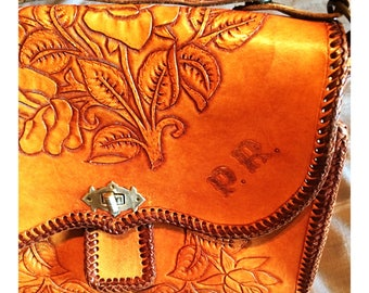 Exquisite hand tooled vintage leather bag