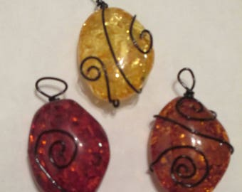 Wire wrapped amber pendant