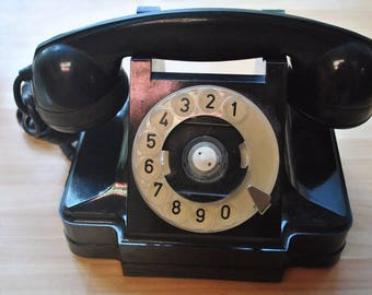 Vintage carbolitic rotary phone. USSR 1959