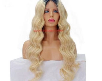 """Remy Human Hair Wig, Full Lace Ombre Dip Dye Balayage 1b-Roots/Blonde-613  Body Wave from 14""""-24"""" Glueless Cap with Combs & Straps"""