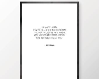 For What It's Worth Wall Print - Wall Art, Personal Print, Home Decor, Inspirational, Self Help