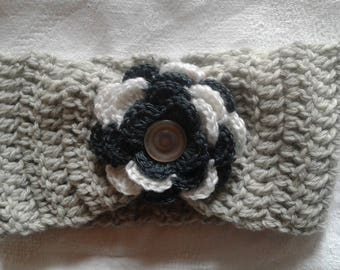 headband, grey head band with large flower
