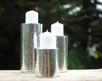 candle holder, candle holder metal, candle holder centerpiece, wedding decoration centerpiece, silver candle holders, hand hammered holder