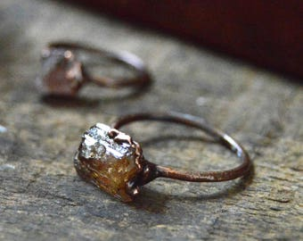 Imperial Topaz Ring - Copper Jewelry - Topaz Ring - November Birthstone - Stacking Rings - Earthy Ring - WS002