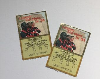 1994 Husker Football Ticket Stubs (2) - October 29, 1994 - Nebraska - Cornhuskers - Colorado