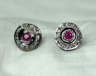 Antique finish rose cut diamond ruby sterling silver earrings studs - 2651717