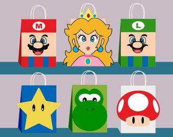Super Mario DIY Favor Bag Template, Super Mario Party Bags Printable,Super Mario DIY Gift Bag, Super Mario Birthday Printable,Digital Files