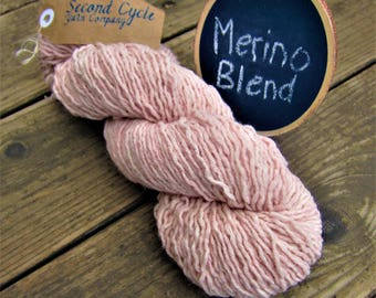 Merino Blend Worsted Weight Pink  Yarn 650 yards, 13.5 ozs! Sweater Quantity Recycled Yarn. Good for Knitting, Crocheting, Macrame & Weaving