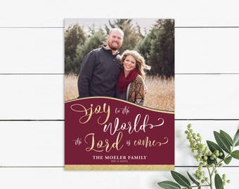 Christmas picture card, religious card, holiday card, verse, Joy to the World the Lord is Come, burgundy, gold glitter, photo card, winter