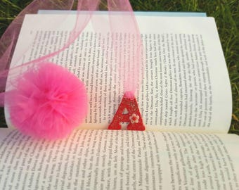 Personalised hand made tulle pom pom bookmark