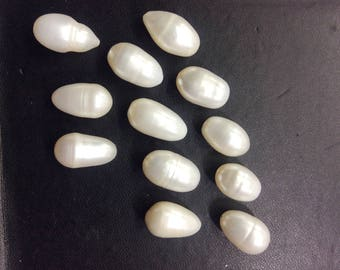 Drilled fresh water pearl beads size 12 to 16mm
