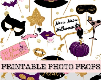 halloween photo booth props printable photo booth props halloween party instant download - Halloween Photography Props