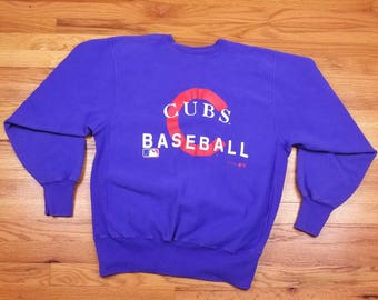 Vintage 90s 1994 Champion Chicago Cubs Baseball Sweater Sweatshirt Long Sleeve size