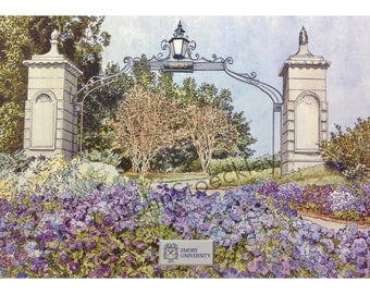 Emory University LIMITED EDITION Pen and Ink and Watercolor Art Print Illustration - Graduation Gift, university