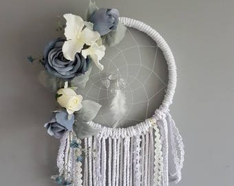 Blue floral dream catcher, dreamcatcher, boy nursery, bohemian decor, marcame dream catcher, floral macrame, macrame wall hanging, blue boho