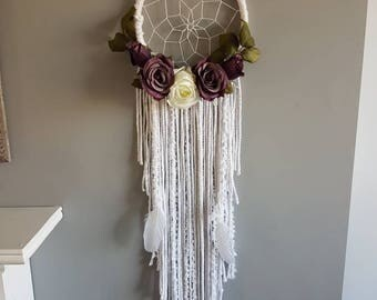 Purple floral dream catcher, white dream catcher, floral, bohemian, artificial flowers, floral macrame dream catcher, dreamcatcher nursery