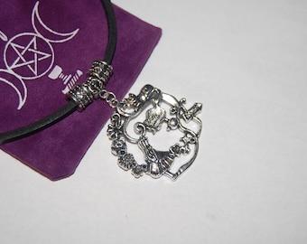 Leather choker, Alice in wonderland pendant