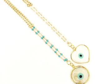Turkish Eye Long Chain Necklaces. Goldfilled