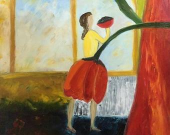 Mamma and the pasta # oil # canvas