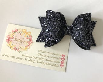 Navy Chunky glitter hair bow purple hair clip wedding headband christening sparkles