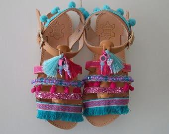 Boho Sandals for Kids, Greek Leather Sandals, Girls Sandals, Strappy Sandals for Children, Bohemian Sandals, Ethnic Sandals, Summer Shoes