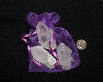 Set of 3 Raw Crystal Points with Mojo Bag