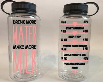Water Bottle/Water Tracker Bottle/Breastfeeding Water Bottle/Drink More Water Make More Milk