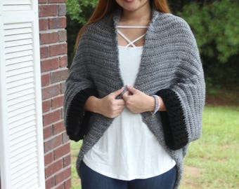 Black and Grey Crochet Shrug