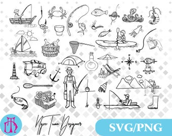 Fishing svg,png/Fishing clipart for Design,Silhouette,Cricut,Print and any more