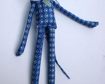 mouse in blue fantasy fabric