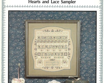 """PAT ROGERS  - """"Hearts and Lace Sampler"""" Cross Stitch Pattern for a Sampler - Vintage 1989 Pattern - Used Pattern - OOP"""