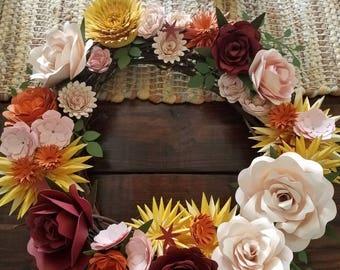 Floral Wreath, multi-seasonal wreath, paper flowers
