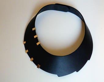 Emma black matte-leather and studs design necklace