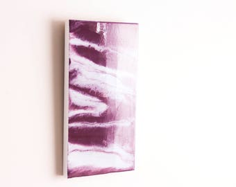 Burgundy and White Abstract Resin Painting